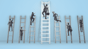 happy and successful career climb ladder
