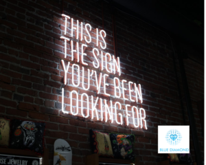 Neon sign reading 'this is the sign you've been looking for' - for your next role