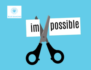 word 'impossible' cut up to leave word 'possible' - new possibilities with blue diamond logo